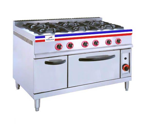 bếp âu công nghiệp 6 họng có lò nướng