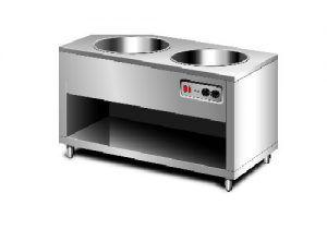 Thiết bị giữ nóng thức ăn bằng hơi nước 2 nồi dạng quầy