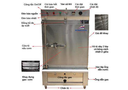 cấu tạo tủ nấu cơm công nghiệp